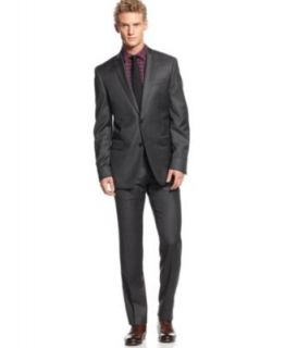 Bar III Carnaby Collection Charcoal Tartan Suit Slim Fit   Suits & Suit Separates   Men