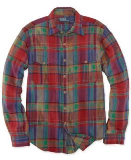 Polo Ralph Lauren Shirt, Plaid Cotton Oxford Workshirt   Men
