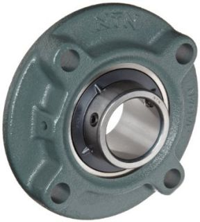 "NTN UCFC213 208D1 Light Duty Piloted Flange Bearing, 4 Bolts, Setscrew Lock, Regreasable, Contact and Flinger Seals, Cast Iron, 2 1/2"" Bore, 6 11/16"" Bolt Hole Spacing Width, 8 1/16"" Height, 9000lbf Static Load Capacity, 12900lbf Dynamic Loa"