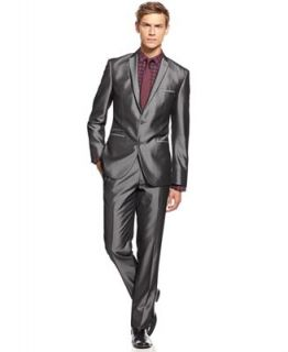 Bar III Suit, Shiny Grey Herringbone Slim Fit   Suits & Suit Separates   Men