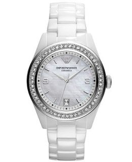 Emporio Armani Watch, Womens White Ceramic Bracelet AR1426   Watches   Jewelry & Watches