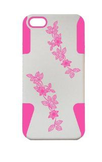 FLOWER DESIGN PLASTIC & SILICONE PINK/WHITE CASE FOR IPHONE 5, FLOWER COVER  LIFETIME WARRANTY Cell Phones & Accessories