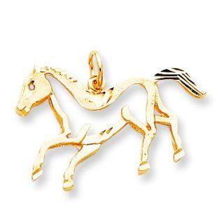 10K Yellow Gold Running Horse Charm Jewelry FindingKing Bead Charms Jewelry