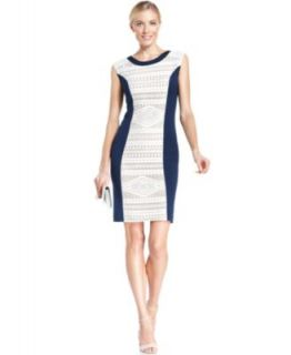 Lauren Ralph Lauren Petite Long Sleeve Colorblocked Boat Neck Dress   Dresses   Women
