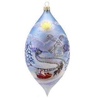 David Strand Kurt Adler Glass Round Midnight Hand Painted Drop Ornament, 8.1 Inch   Christmas Ornaments