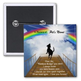 Rainbow Bridge Memorial Poem for Dogs Buttons