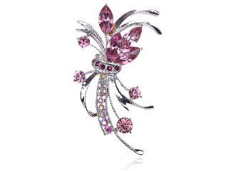 Floral Flower Purple Bouquet Fashion Collectible Crystal Rhinestone Pin Brooch Jewelry