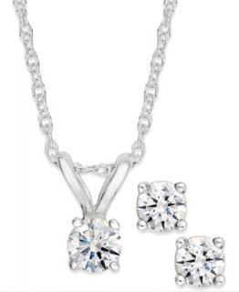 Diamond Necklace, 14k White Gold Diamond Heart Pendant (1/10 ct. t.w.)   Necklaces   Jewelry & Watches