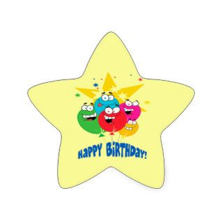 happy birthday balloons with faces cartoon sticker