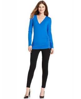 MICHAEL Michael Kors Long Sleeve Surplice Zipper Top & Skinny Pants   Women