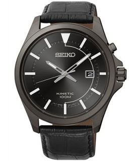 Seiko Mens Kinetic Black Leather Strap Watch 42mm SKA583   Watches   Jewelry & Watches