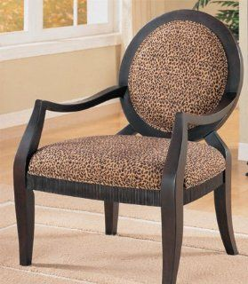 Accent Chair with Leopard Print Black Finish By H.P.P   Armchairs