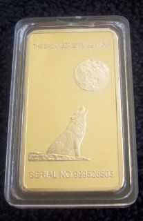 1 Troy Ounce 24k Howling Wolf Yosemite National Park Half Dome 100 Mills Gold Clad Ingot Bar Design  World Treasures Mint Xmas Christmas Black Friday Cyber Monday Hanukkah