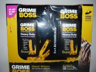 Grime Boss HEAVY DUTY Wipes for Hands and Surfaces  120 EXTRA LARGE Wipes, Family Safe, but tough on grime Health & Personal Care