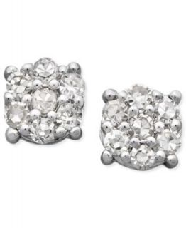 Diamond Earrings, 14k White Gold Black Diamond Cluster Stud Earrings (1/10 ct. t.w.)   Earrings   Jewelry & Watches