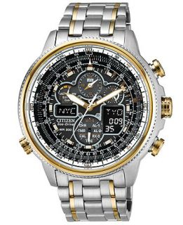 Citizen Mens Eco Drive Navihawk A T Two Tone Stainless Steel Bracelet Watch 48mm JY8034 58E   Watches   Jewelry & Watches