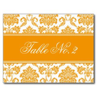 Orange Damask Wedding Table Number Post Cards