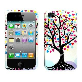 Importer520 Colorful Love Tree Print Design Plastic Matte Rubberized Texture Design for Anti Slip Grip Snap On Case Cover for Case Cover Accessory for APPLE AT&T VERIZON IPHONE 4 4S 4G 16GB and 32GB Cell Phones & Accessories