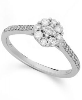 10k White Gold Diamond Engagement Ring and Wedding Band Set   Rings   Jewelry & Watches