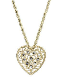 10k Gold and White Gold Necklace, Two Tone Heart Pendant   Necklaces   Jewelry & Watches