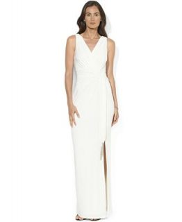 Lauren Ralph Lauren Dress, Sleeveless Faux Wrap Beaded Jersey Gown   Dresses   Women