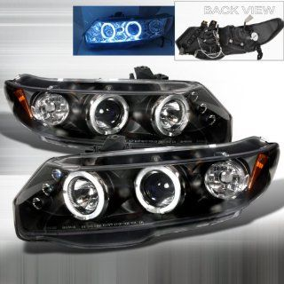 06 07 08 09 10 Honda Civic 2doors Halo Projector Headlights   Black (Pair) Automotive