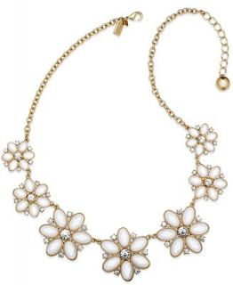 kate spade new york Necklace, Gold Tone Cream Floral Stone Graduated Necklace   Fashion Jewelry   Jewelry & Watches