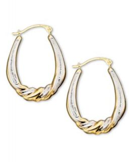 10k Two Tone Gold Hoop Earrings   Earrings   Jewelry & Watches