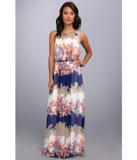 Jessica Simpson Sleeveless Blouson Maxi Dress With Cb Scallop Trim And Skirt Ruffle