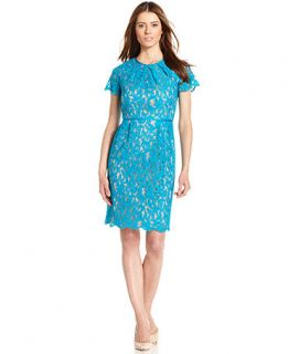 Adrianna Papell Flutter Sleeve Lace Dress   Dresses   Women