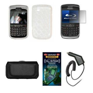 Blackberry Tour 9630 Premium Black Leather Carrying Pouch+ Clear Soft  Skin TPU Case Cover+Premuim LCD Screen Protector+Premium Rapid Car Charger+Antenna Booster Combo For Blackberry Tour 9630 Cell Phones & Accessories