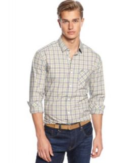 Lacoste Big and Tall Shirt, Long Sleeve Twill Plaid Shirt   Casual Button Down Shirts   Men