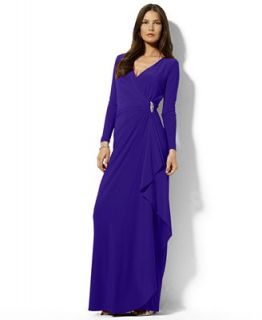 Lauren Ralph Lauren Petite Dress, Long Sleeve Draped Jersey Gown   Dresses   Women