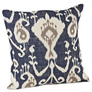 Hana Ikat Design Burlap Decorative Throw Pillow, 20 inch Square, Filler Included (navy blue)