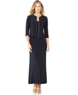 Alex Evenings Dress and Jacket, Sleeveless Rhinestone Trim Evening Gown   Dresses   Women