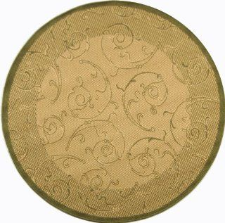 Safavieh Courtyard Collection CY2665 1E01 Indoor/Outdoor Round Area Rug, 7 Feet 10 Inch, Natural