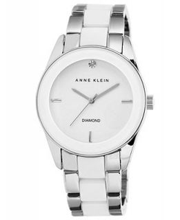 Anne Klein Watch, Womens Diamond Accent White Ceramic and Silver Tone Bracelet 38mm AK 1437WTSV   Watches   Jewelry & Watches