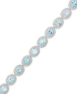 Sterling Silver Blue Topaz (17 ct. t.w.) and Diamond Accent Bracelet   Bracelets   Jewelry & Watches