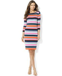 Lauren Ralph Lauren Petite Striped Boat Neck Dress   Dresses   Women
