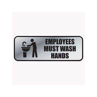 * Brushed Metal Office Sign, Employees Must Wash Hands, 9 x 3, Silver   Business And Store Sign Holders