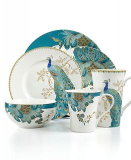 222 Fifth Dinnerware Eliza Teal & Peacock Garden Mix & Match Collection   Casual Dinnerware   Dining & Entertaining