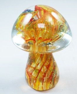 Murano Design Hand Craft Rainbow Mix Flame Pattern Mushroom Glass Paperweight   Decorative Vases