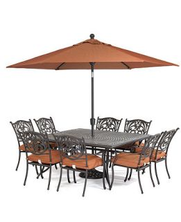 Chateau Outdoor 9 Piece Dining Set 64 Square Table and 8 Dining Chairs   Furniture
