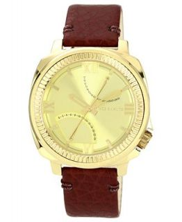 Vince Camuto Watch, Mens Oxblood Textured Grain Leather Strap 44mm VC 1003CHGP   Watches   Jewelry & Watches