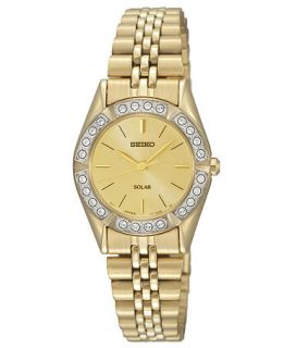 Seiko Watch, Womens Solar Gold Tone Stainless Steel Bracelet 25mm SUP096   Watches   Jewelry & Watches