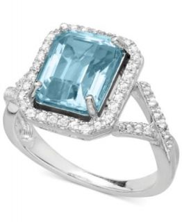 14k White Gold Ring, Tanzanite (1 1/2 ct. t.w.) and Emerald Cut Diamond (1/4 ct. t.w.) Ring   Rings   Jewelry & Watches