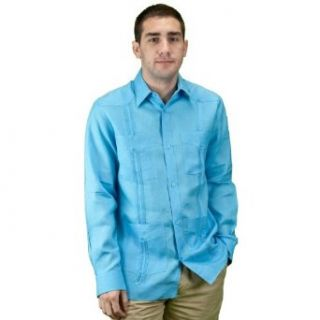 Mycubanstore Men's Guayabera Long Sleeve Shirt at  Men�s Clothing store Button Down Shirts