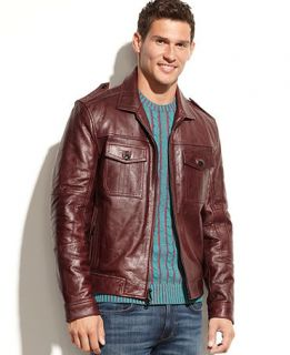 Kenneth Cole Reaction Jacket, Washed Leather Jacket   Coats & Jackets   Men