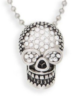 "EDFORCE Antiqued Crystal Encrusted Skull in Polished Stainless Steel with 20"" Ball Chain (161 0101 P) Pendant Necklaces Jewelry"