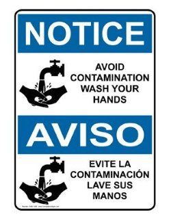 OSHA NOTICE Avoid Contamination Wash Hands Bilingual Sign ONB 1355  Business And Store Signs